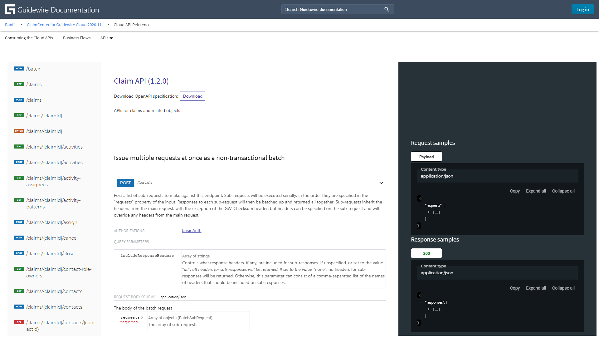 The new public InsuranceSuite Cloud API reference for ClaimCenter.