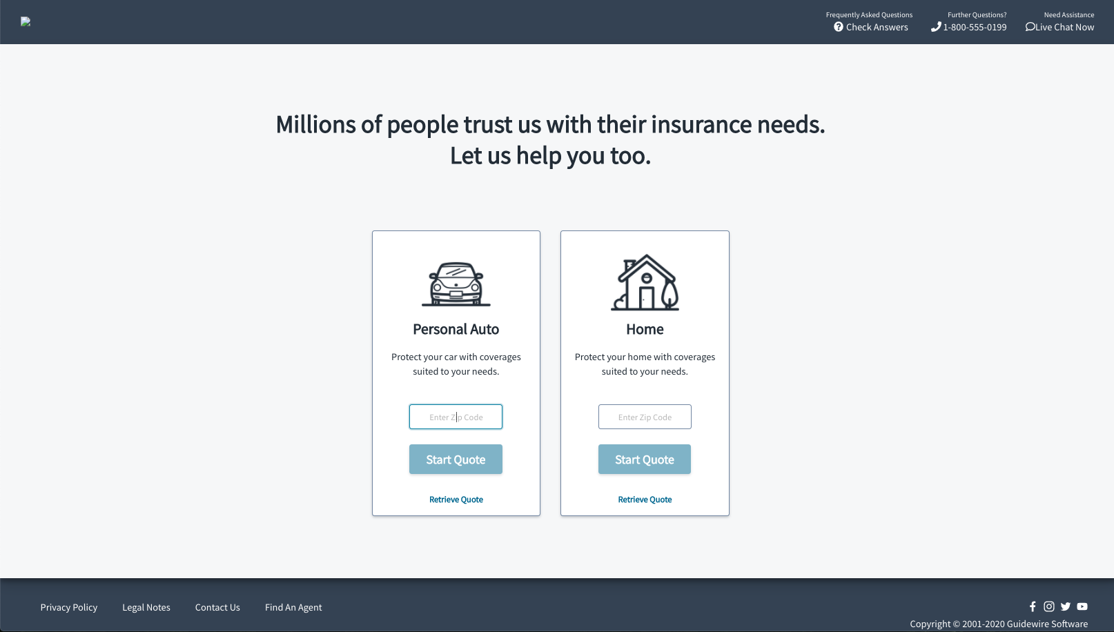 Consumer Sales Portal built with the Guidewire InsuranceNow API